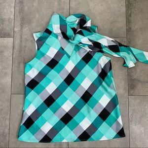 Nine West checkered sleeveless halter blouse S